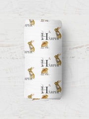 Personalised Wrap Set - Tiny Floral Rabbit