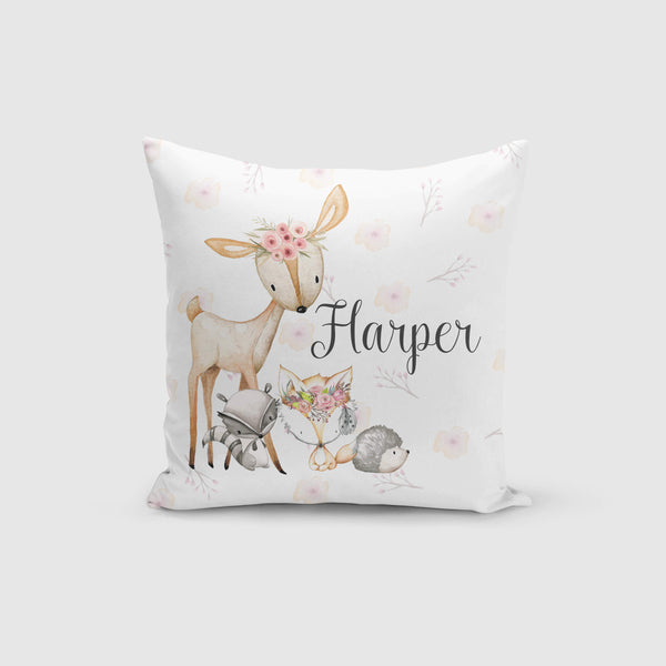 Personalised Cushion Cover Only - Woodland Friends Floral