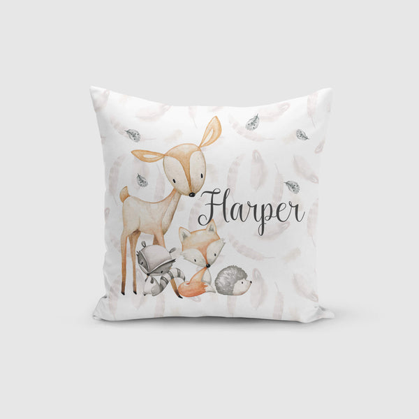 Personalised Cushion Cover Only - Woodland Friends