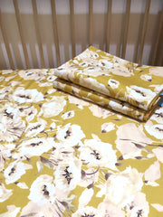 Mustard and Peach Blooms - Cot Quilt