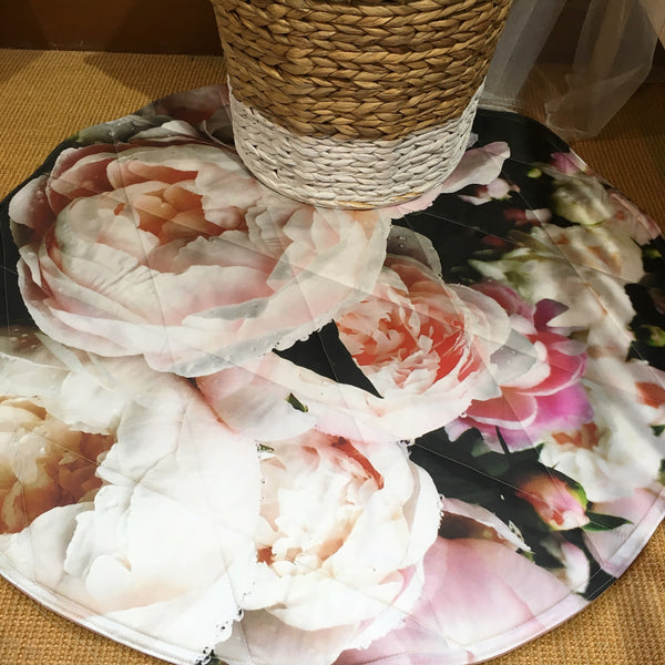 Digital Peony Rose Round Play Mat
