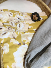 Mustard and Peach Blooms - Bassinet / Pram Blanket