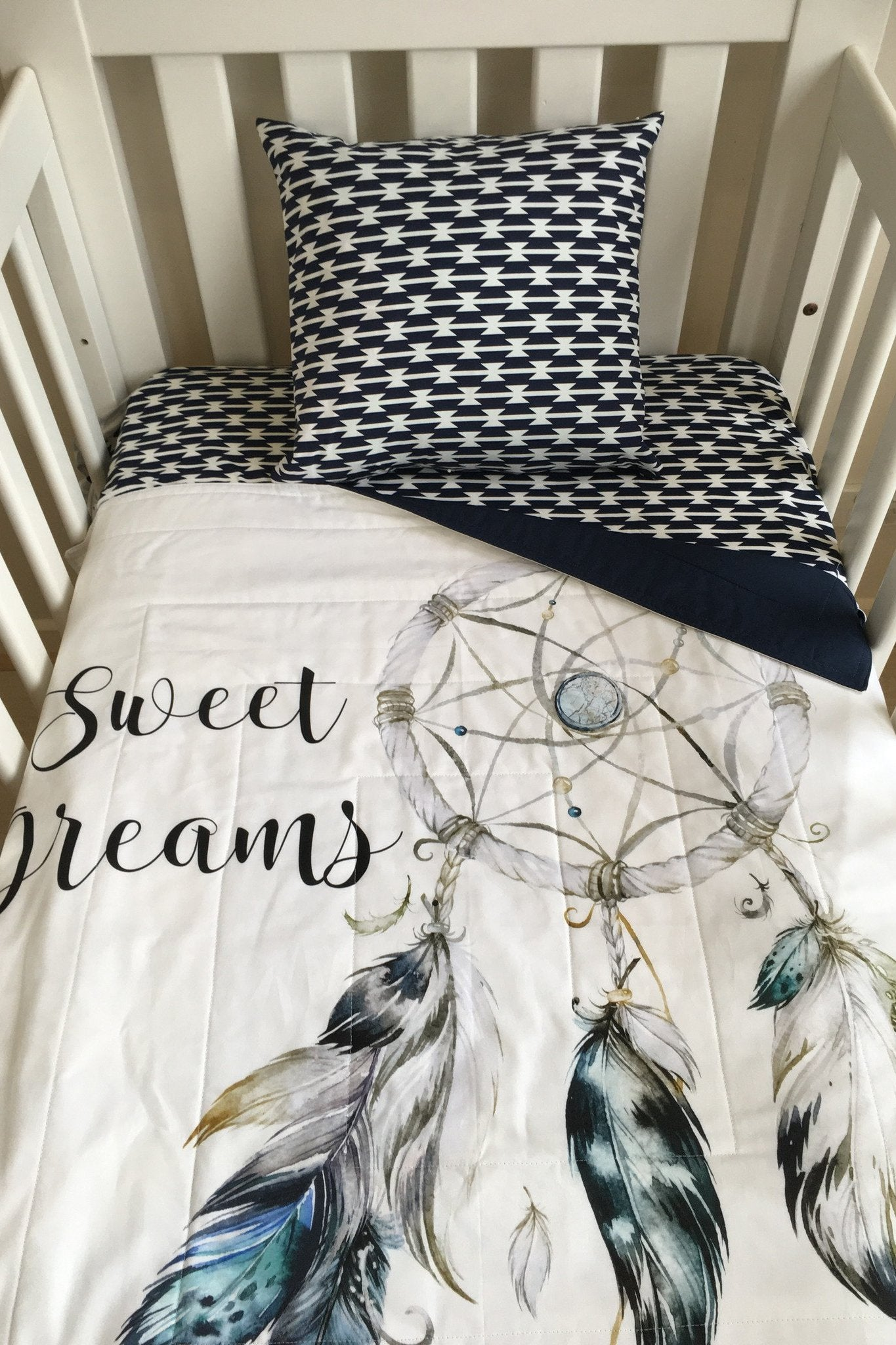Dreamcatcher Navy Grey Medium Cot Quilt