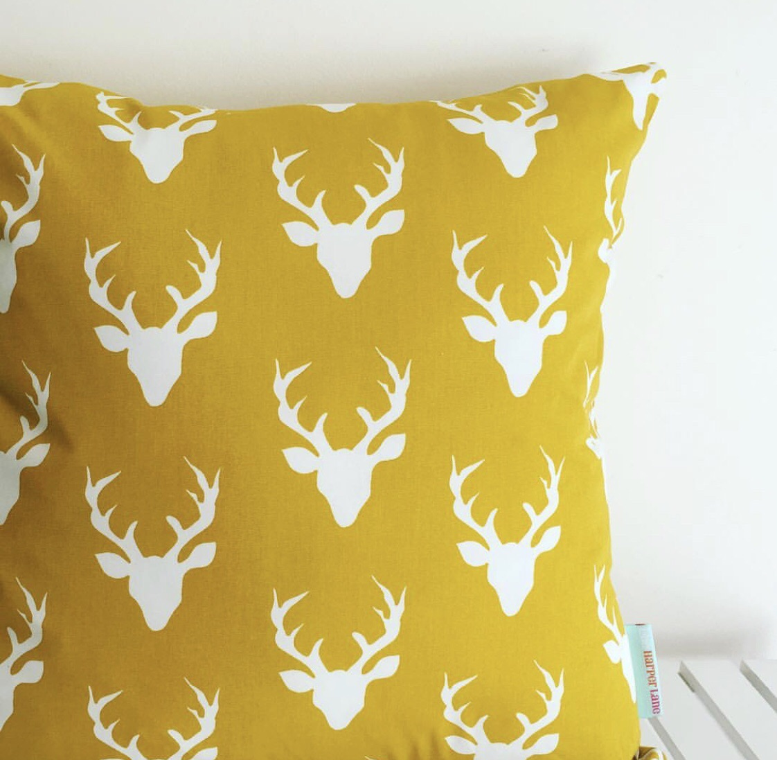 Mustard Stag Cushion Cover