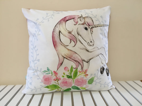 Unicorn Cushion Cover - Pink Back