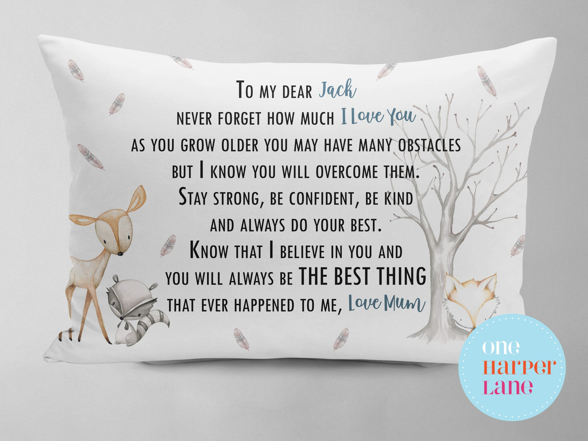 Personalised Pillowcase - Woodland Animals