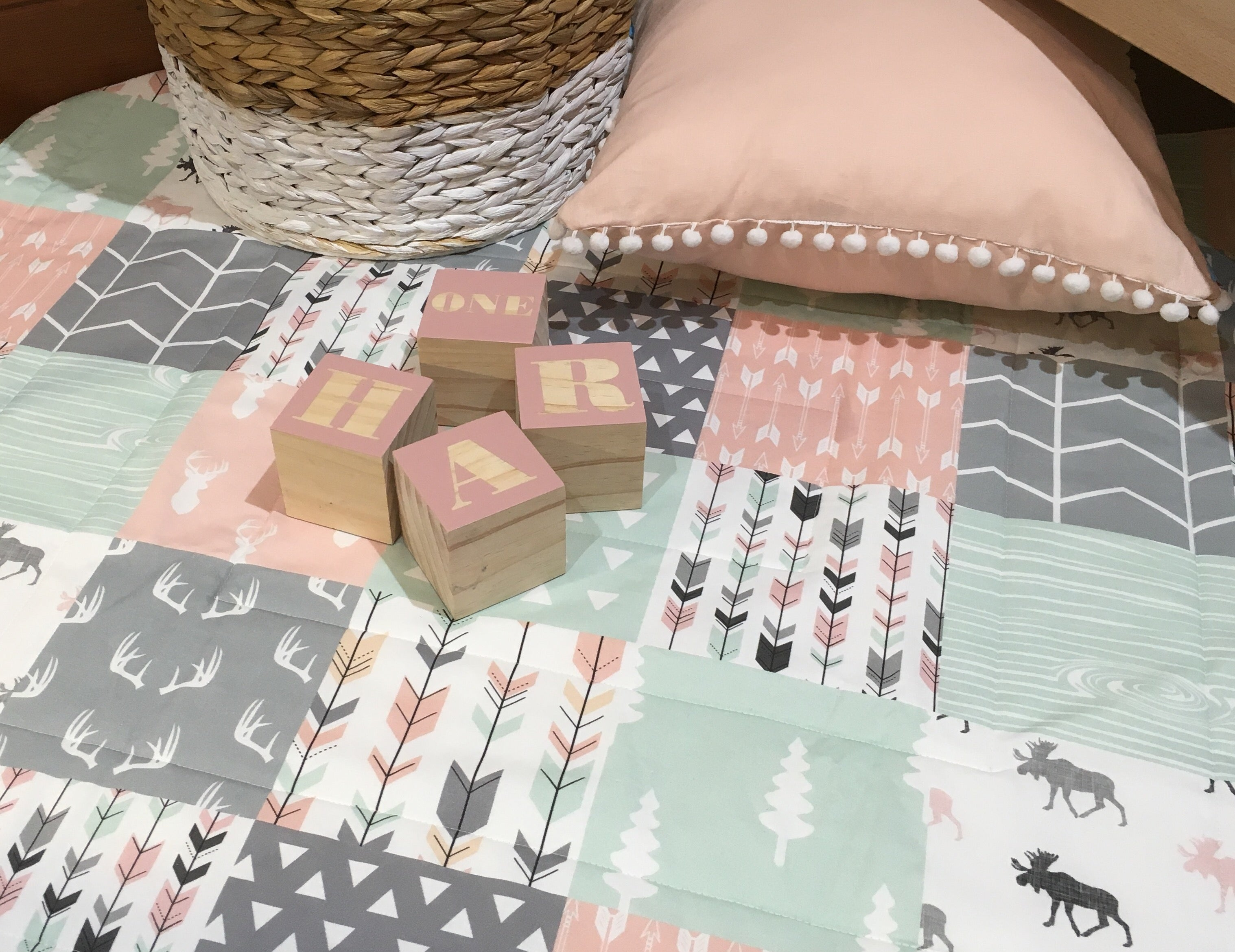 Pink, Mint and Grey Round Play Mat