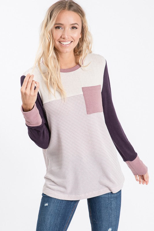 Plum Color Block Knit Top