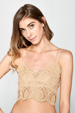 Crochet Bralette - taupe - Sweetly Striped