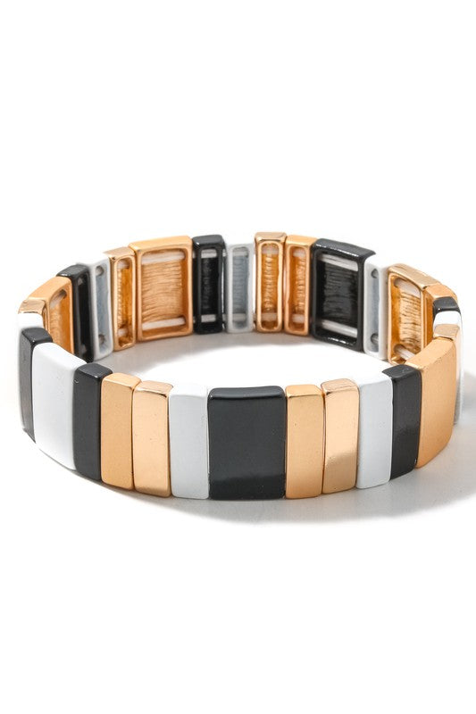 Color Block Stretch Bracelet - Black & Gold - Sweetly Striped