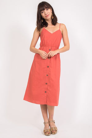 Rust Midi Dress - Sweetly Striped