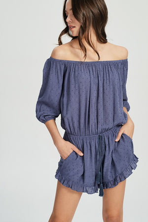 Off the Shoulder Romper - Sweetly Striped