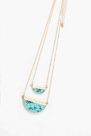 Half Moon Layered Necklace - Turquoise - Sweetly Striped
