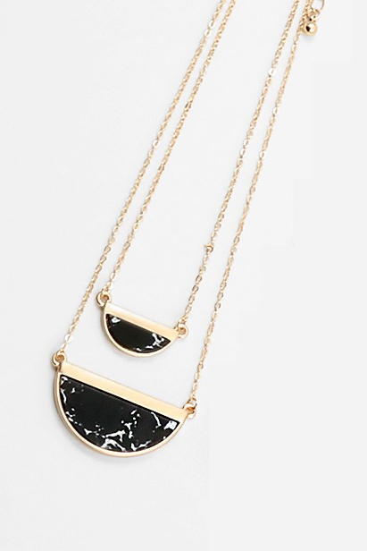 Half Moon Layered Necklace - Black - Sweetly Striped