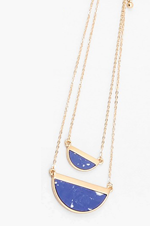 Half Moon Layered Necklace - Lapis - Sweetly Striped