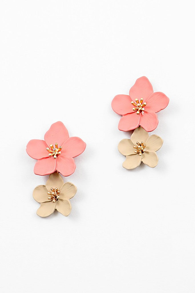 Flower Earrings - Coral - Sweetly Striped