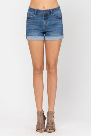 The Perfect Cuffed Hem Denim Shorts - Medium Wash