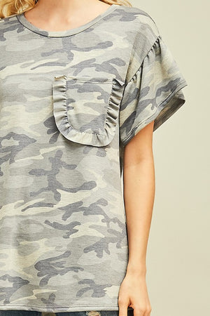 Frilly Camo Top - Sweetly Striped