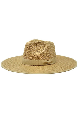 Emma Paper Straw Hat- Latte - Sweetly Striped