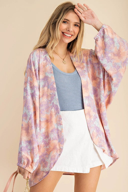 Peach Mix Watercolor Kimono