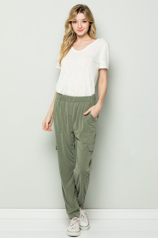 Chic Olive Joggers - Sweetly Striped