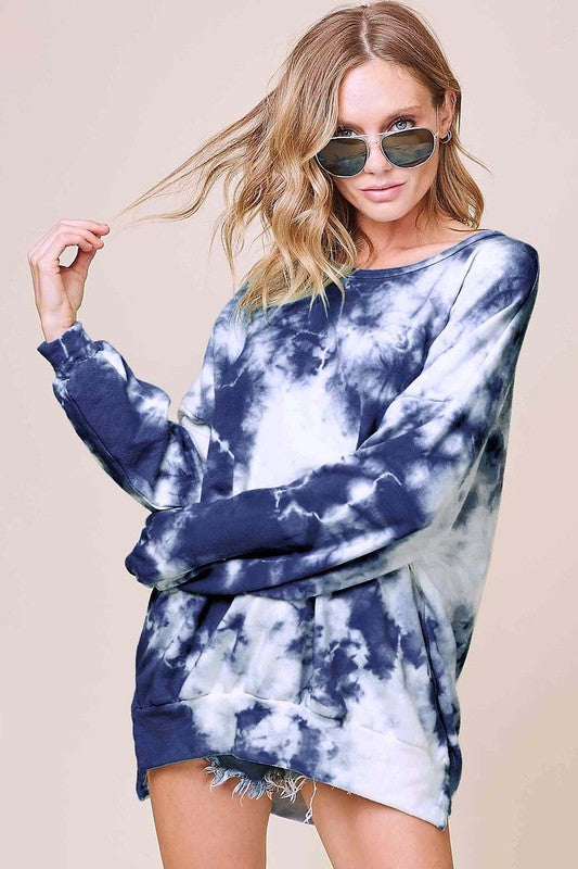 Relaxed Tie Dye Sweatshirt - Navy Blue