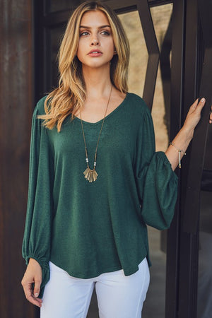 Cashmere Brushed Balloon Sleeve Top