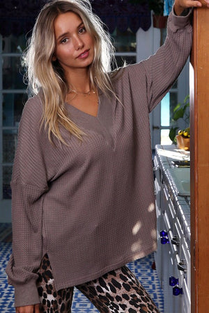 Relaxed Waffle Knit Top - Mocha