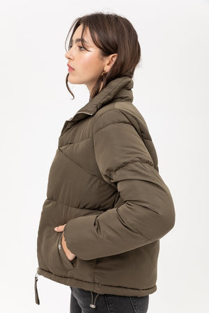 Olive Zip Up Puffer Jacket