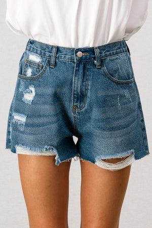 Mix It Up Distressed Denim Shorts - Sweetly Striped
