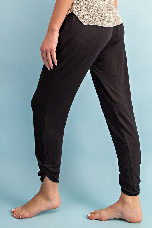 Ruched Ankle Joggers - Black