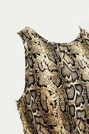 Cut Out Back Snakeskin Sports Bra