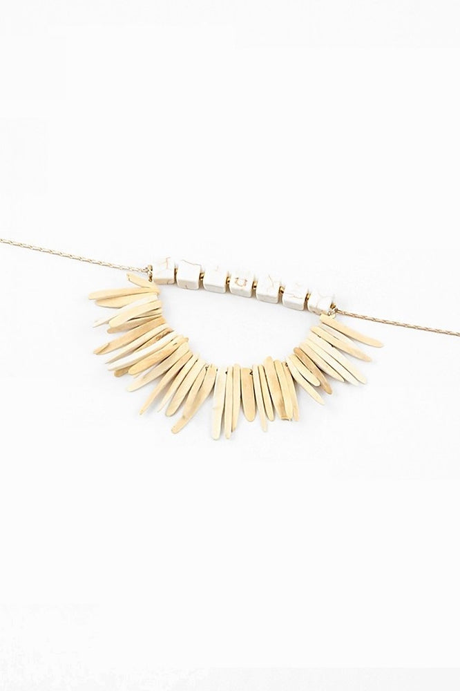 Layered Stone Necklace - Natural - Sweetly Striped