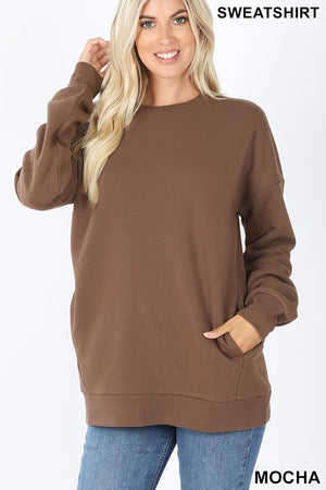 Pocketed Pullover Sweatshirt - Mocha