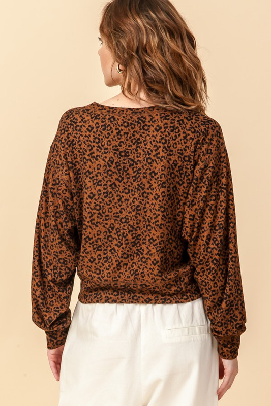 Brown Cozy Cheetah Dolman Top