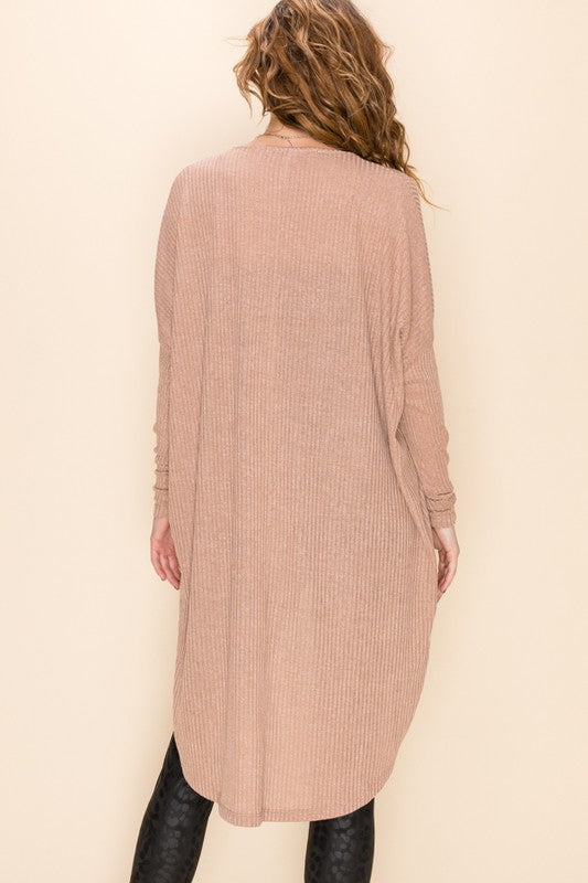 Taupe Draped Front Knit Top