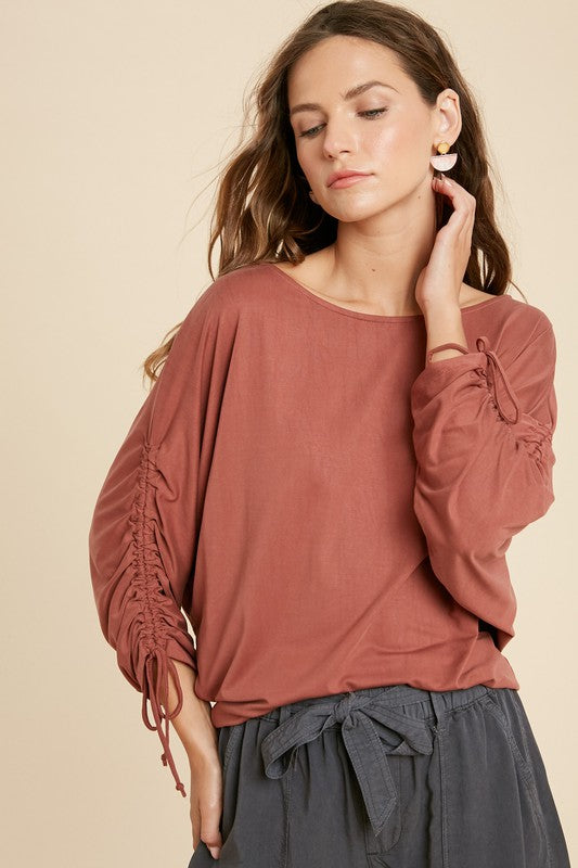 Brick Ruched Sleeve Knit Top