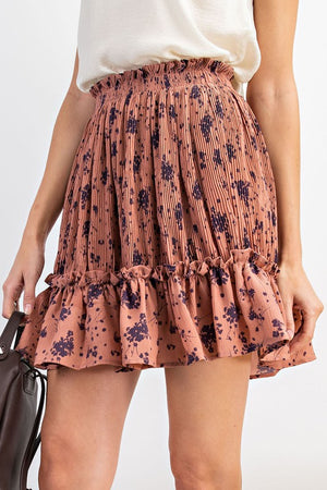 Floral Pleated Skirt - Mauve