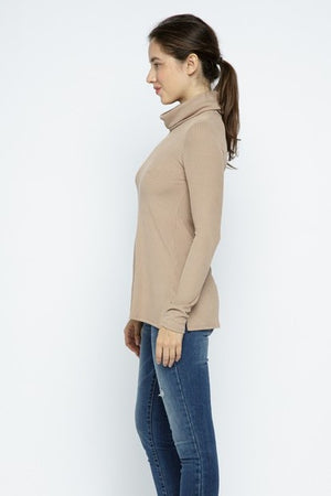 Ribbed Cowl Neck Top - Tan