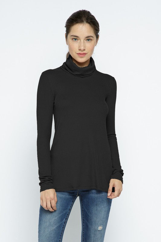 Ribbed Cowl Neck Top - Black