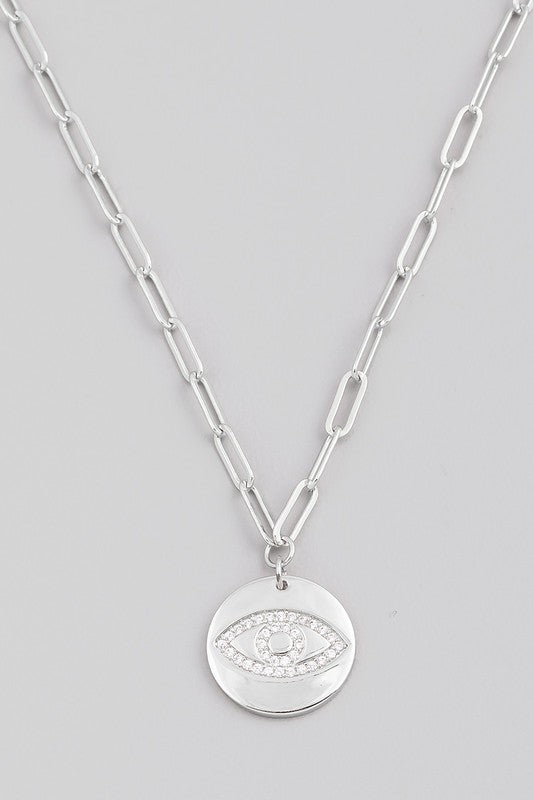 Evil Eye Coin Necklace - Silver