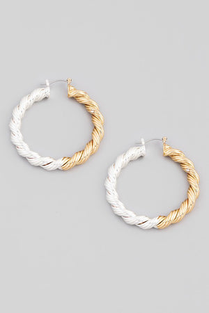 Gold Silver Twist Latch Hoop Earrings