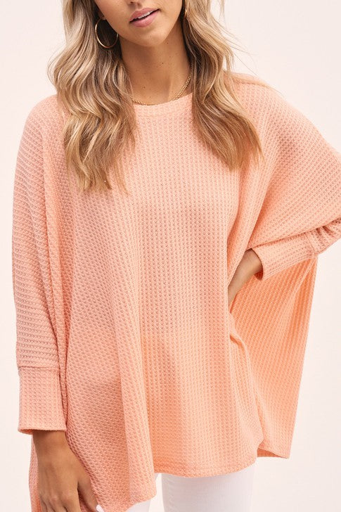 Coral Waffle Top