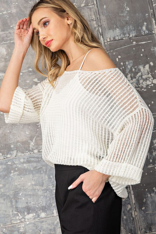 Waffle Knit Sweater Top