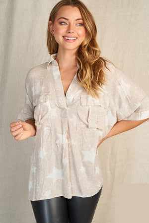 Taupe Star Woven Top