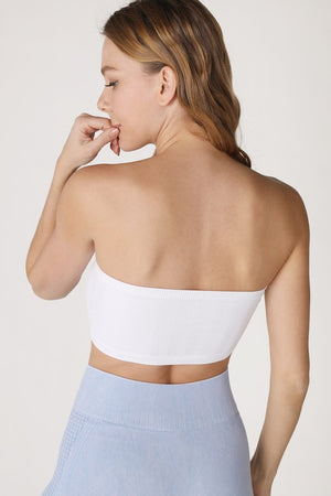 White Chevron Bandeau Top