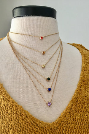 Layered Multi-Colored Stone Necklace - Sweetly Striped