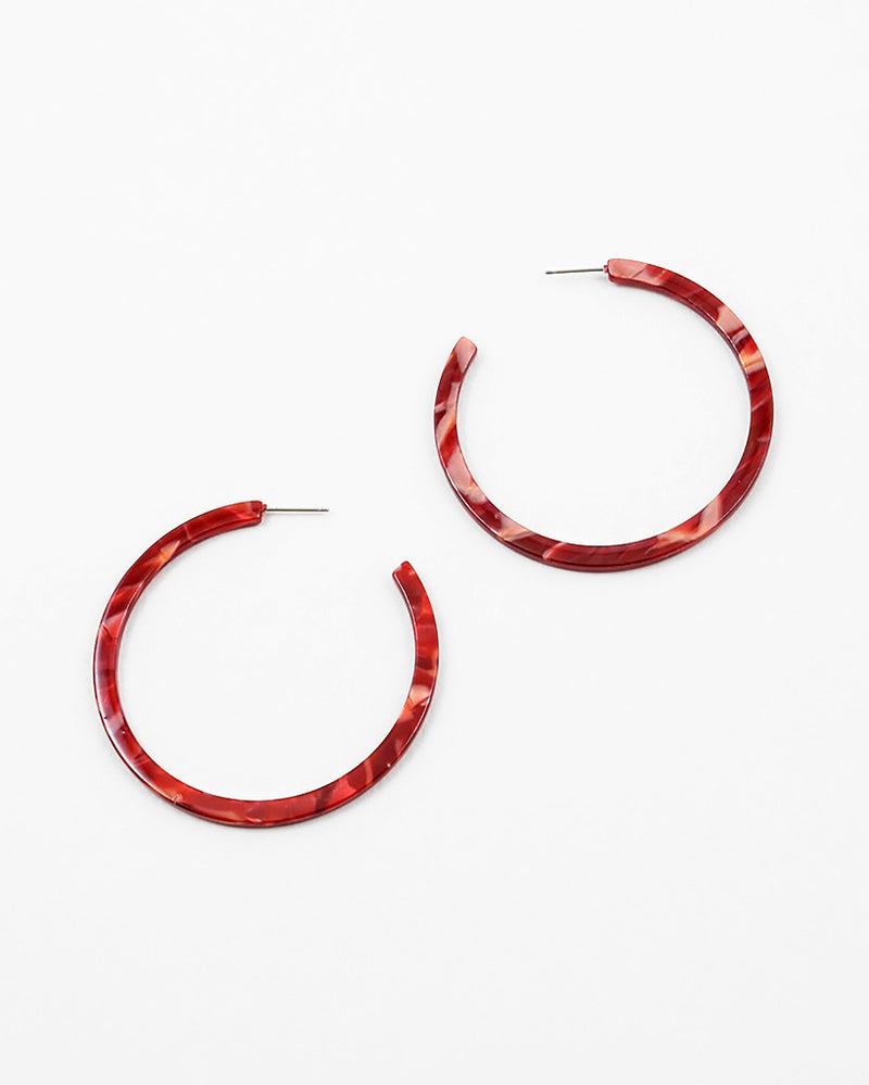 Marbled Large Thin Hoops - Red - Sweetly Striped