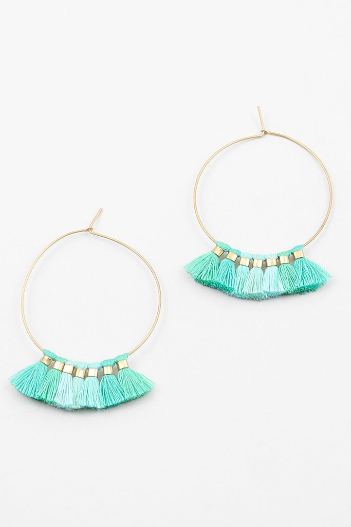 Mini Tassel Hoops - Sweetly Striped
