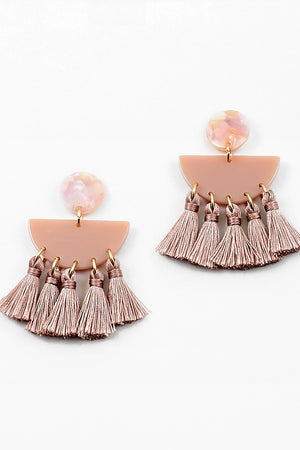 Geometric Tassel Earring - Blush - Sweetly Striped